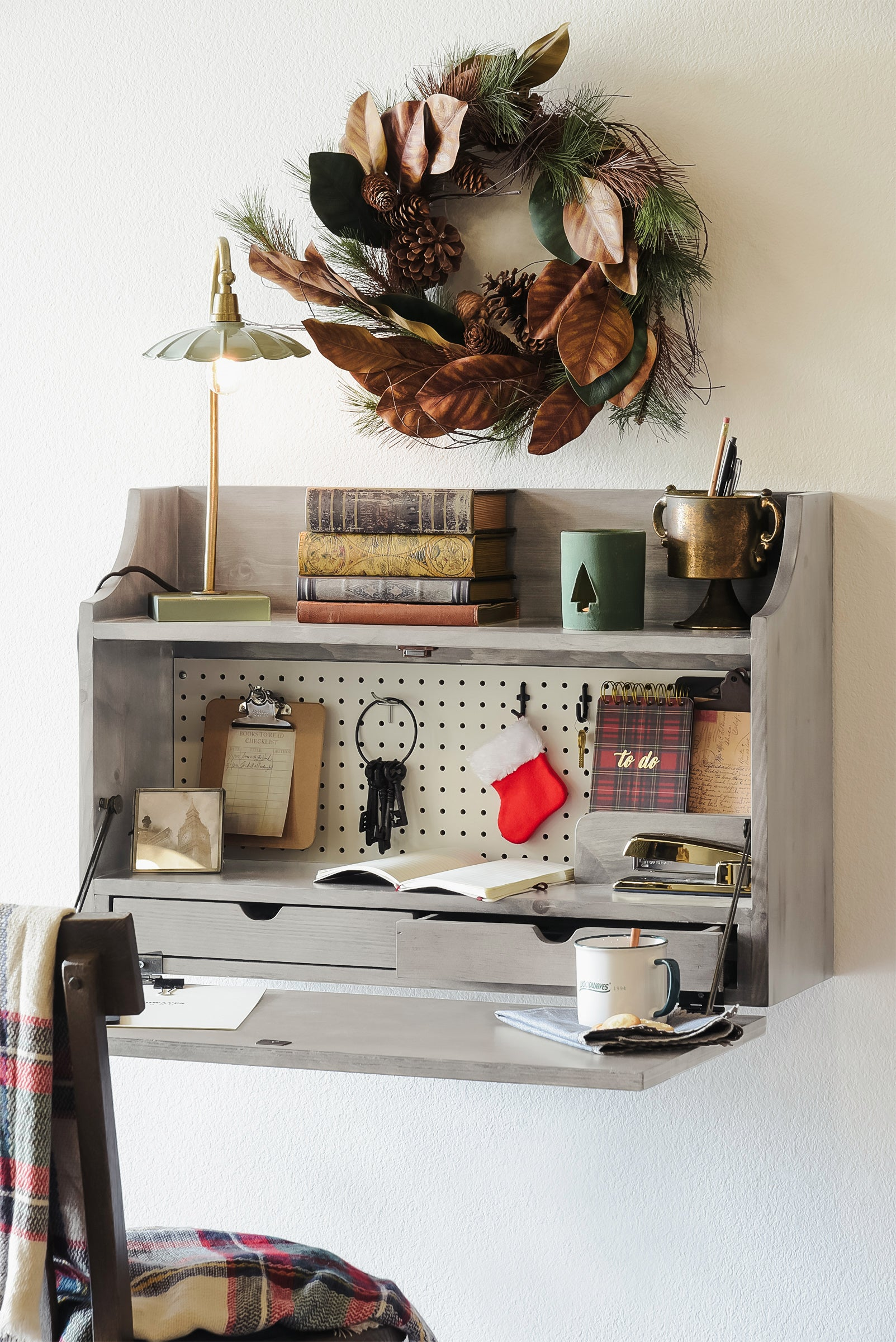 Light Gray Floating Desk Wall Mount Fold Down Craft Table Workstation - Dusk - Monterey