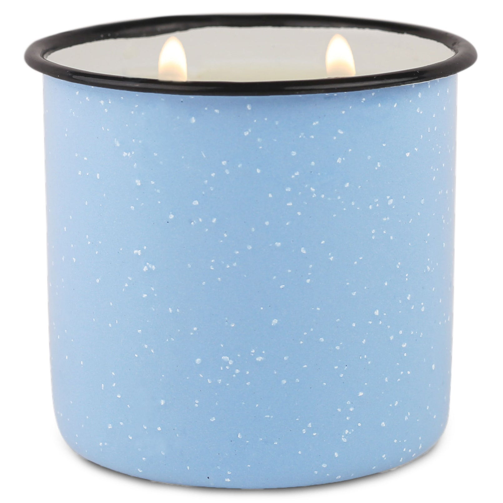 Light Blue Enamel Camping Mug Candle - Wild Fig & Cedar - Woods Scented