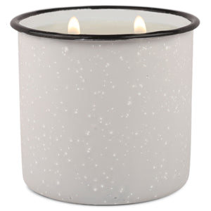 Light Gray Enamel Camping Mug Candle - Wildflowers & Birch - Woods Scented