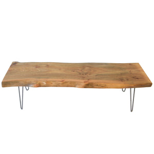 Light Natural Wood Reclaimed Live Edge Slab Coffee Table
