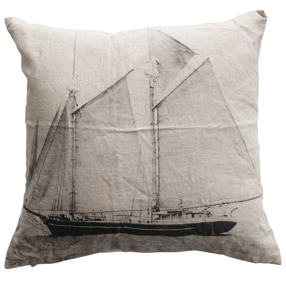 Linen Sailboat Pillow