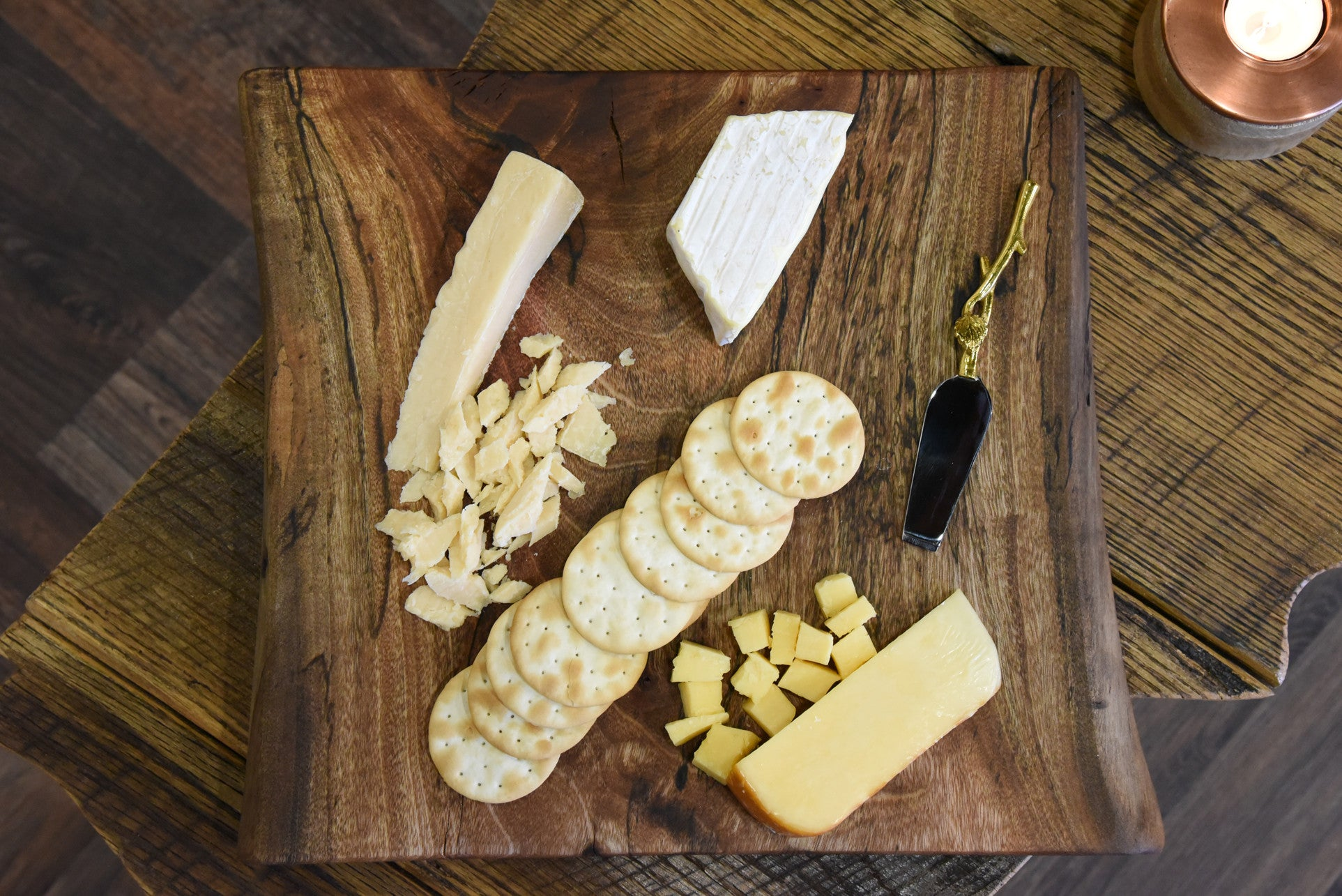 Reclaimed live edge cheese board medium woodwaves