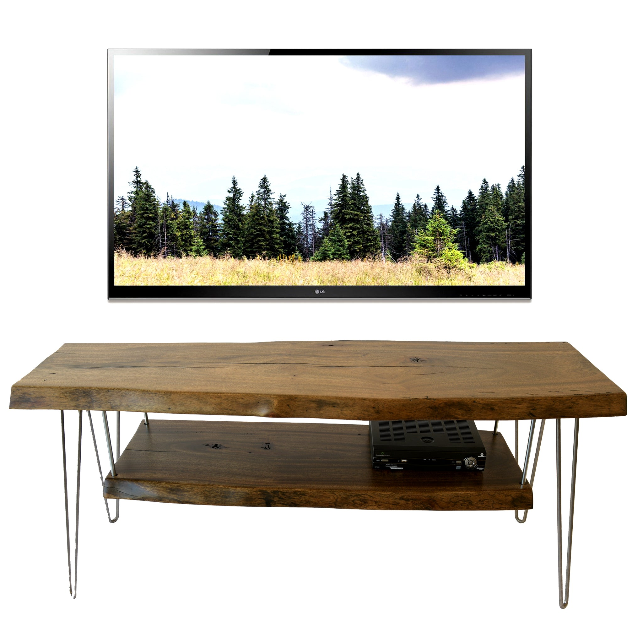 Reclaimed Wood Live Edge Slab TV Stand