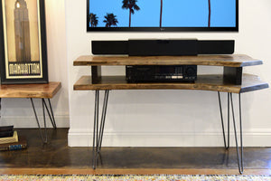 Live Edge Slab Mid Century TV Stand