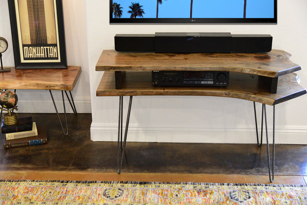Live Edge Slab Mid Century Tv Stand Woodwaves