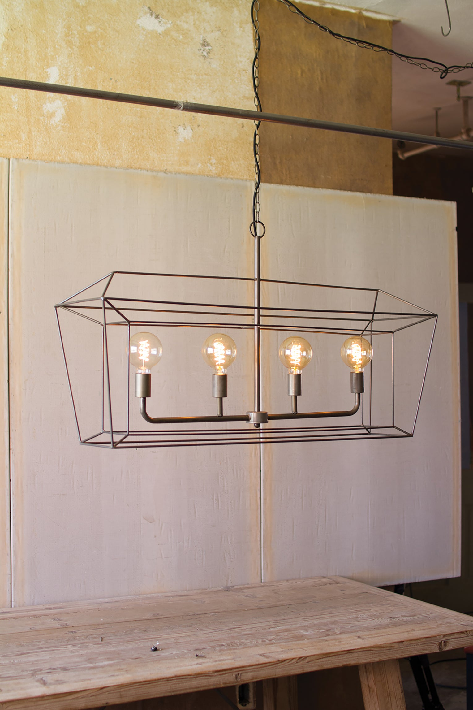 Long Industrial Modern Metal Wire Chandelier With 4 Lights Woodwaves