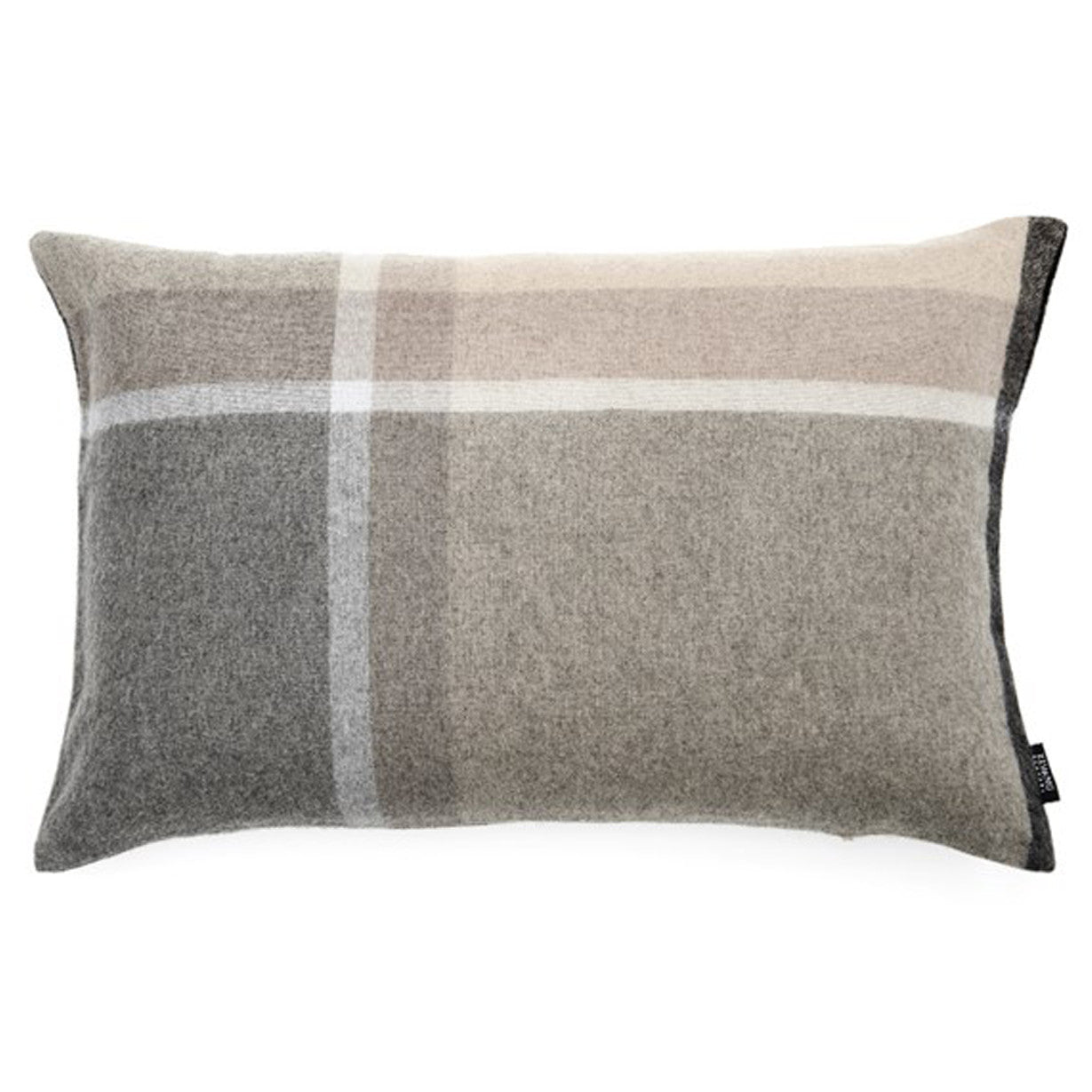 modern pillows  woodwaves - modern white and natural grey plaid luxury soft alpaca and sheep wool pillowcover