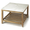 Marble and Rustic Wood Square Coffee Table