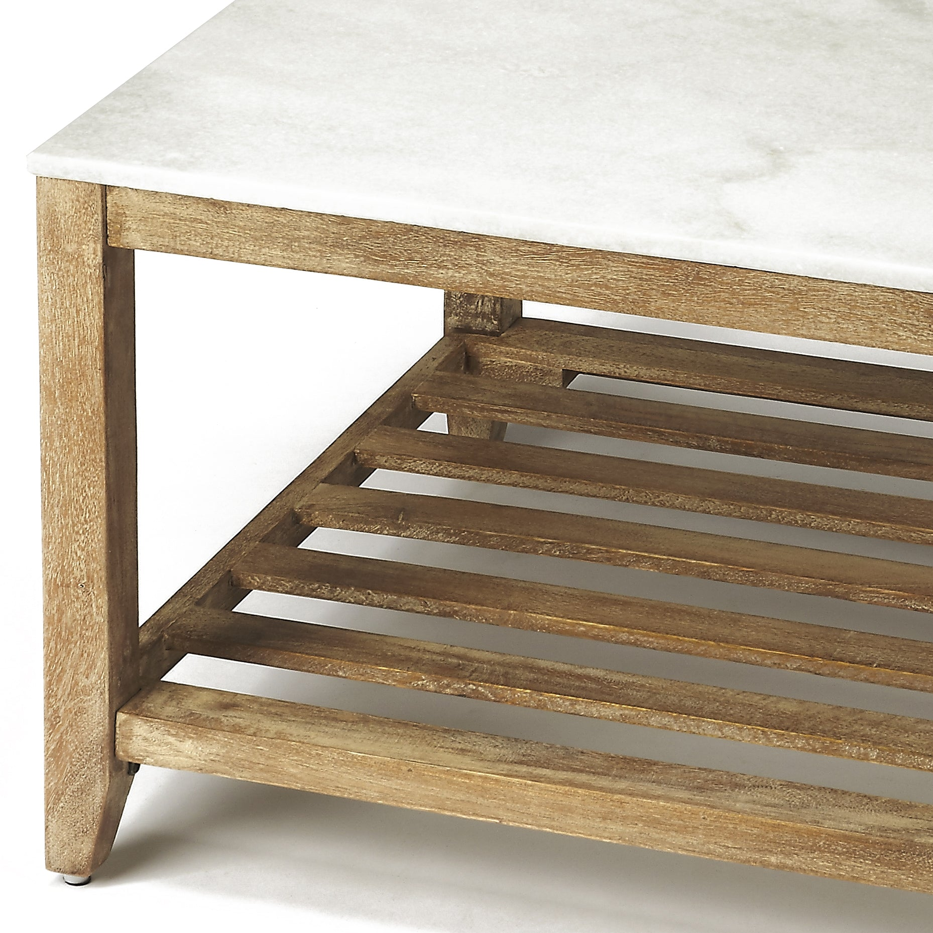 Marble and Wood Square Coffee Table