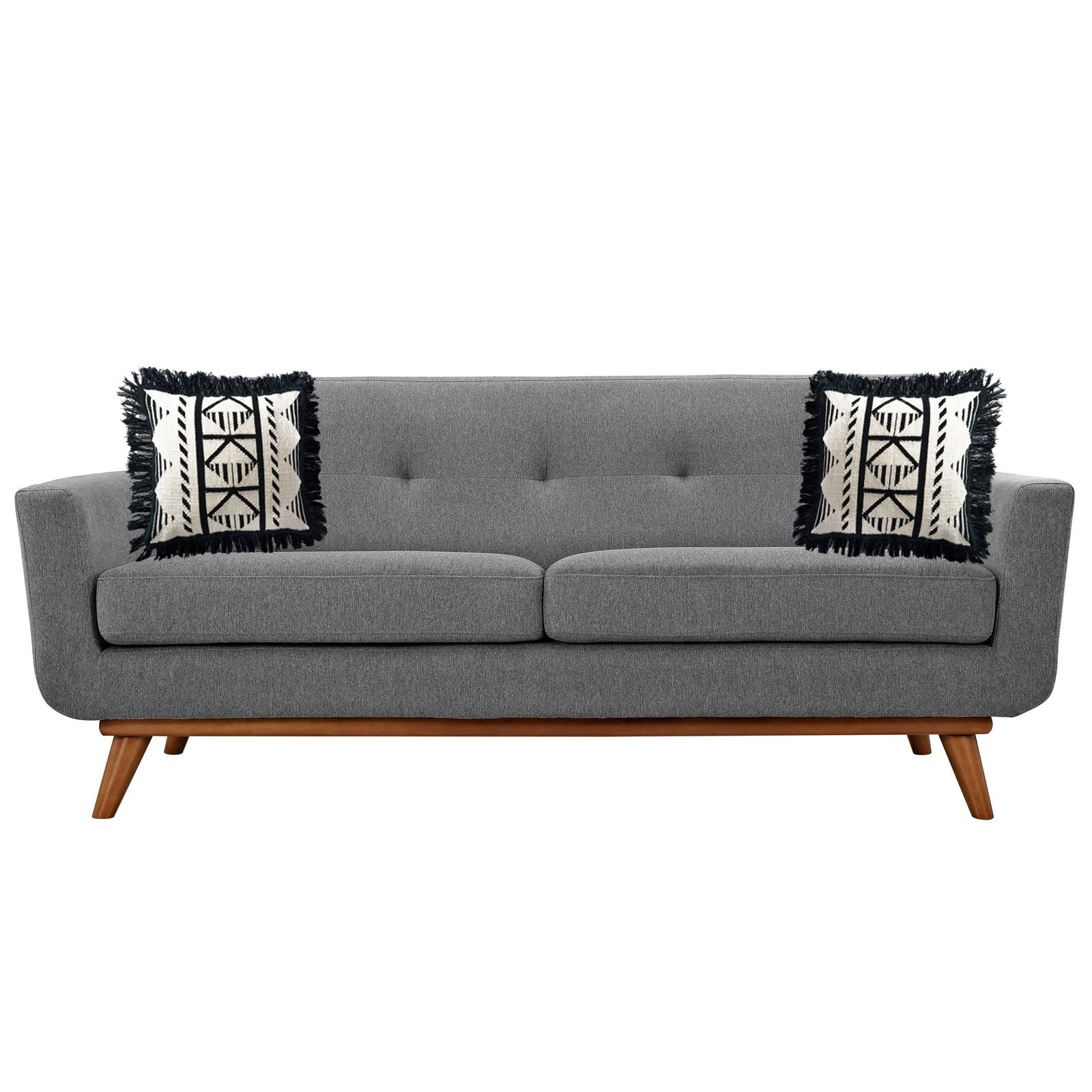 Superior Medium Gray Mid Century Modern Loveseat Sofa With Pillows