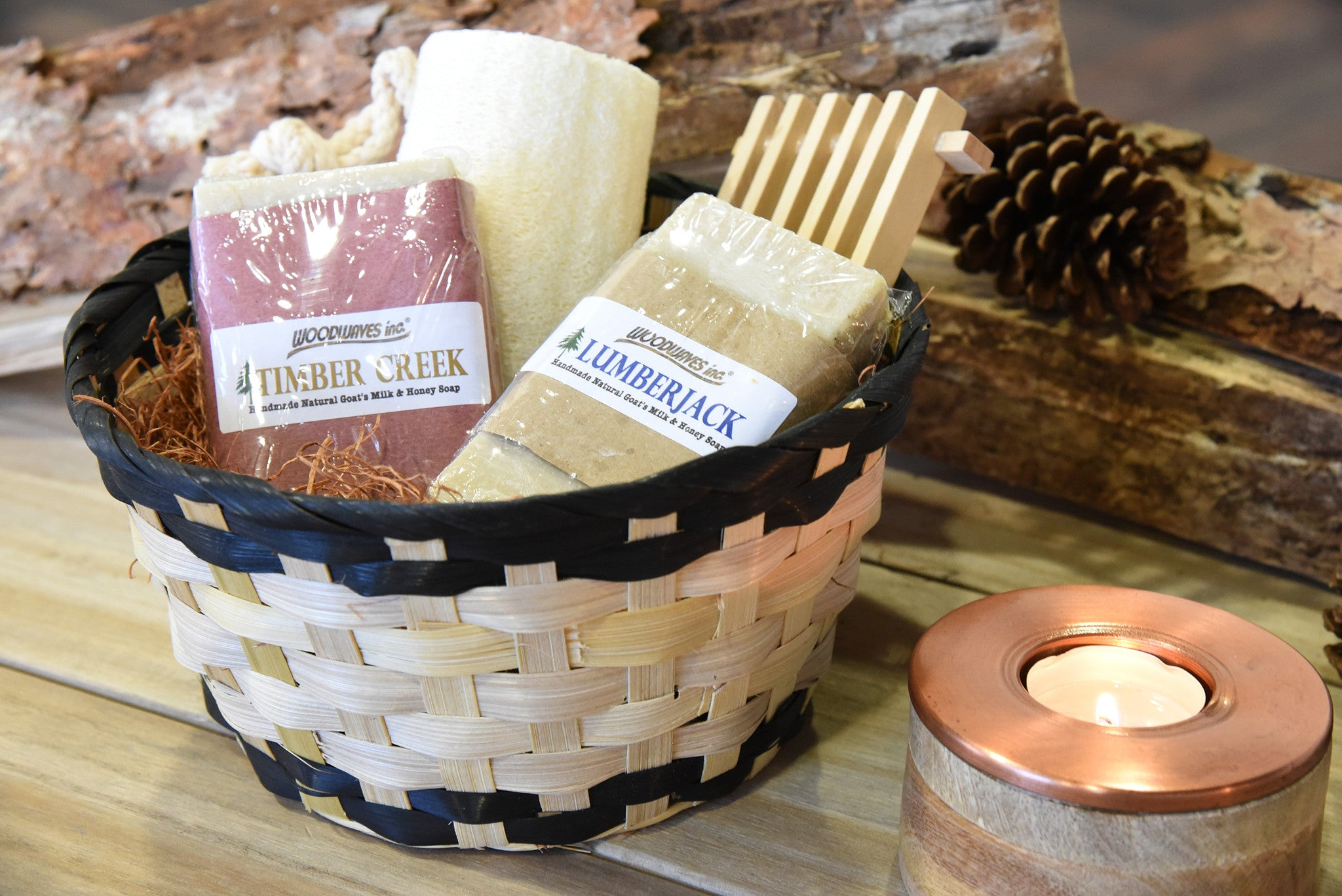 Handmade Men's Spa Gift Basket Bath Set - Goat's Milk Soap Bars - Lumberjack and Timber Creek
