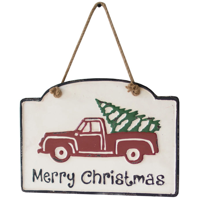 Merry Christmas Red Truck Wall Art Metal Sign Decor - Set of 2