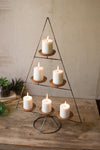 Metal Christmas Tree With Clay Cup Candle Holders