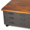 Black Industrial Modern Coffee Table Metal Drawers