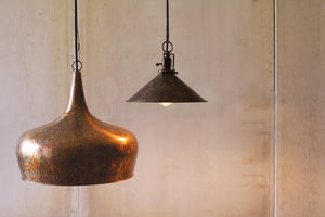 Antique Copper Color Metal Tear Drop Dome Pendant Lamp