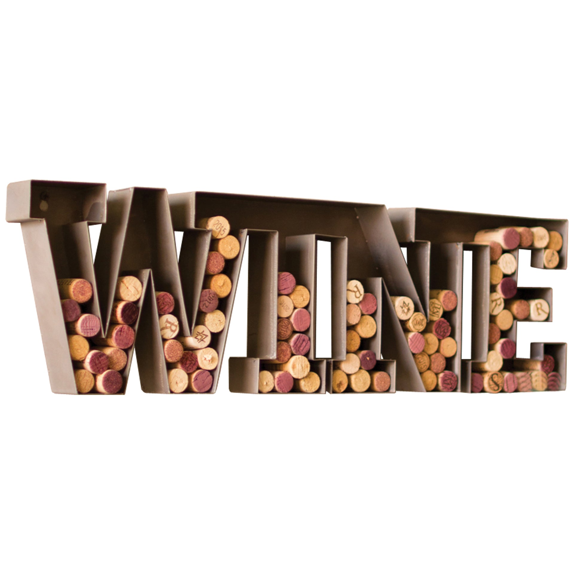 Metal Wall Mount Wine Sign Letters Cork Holder