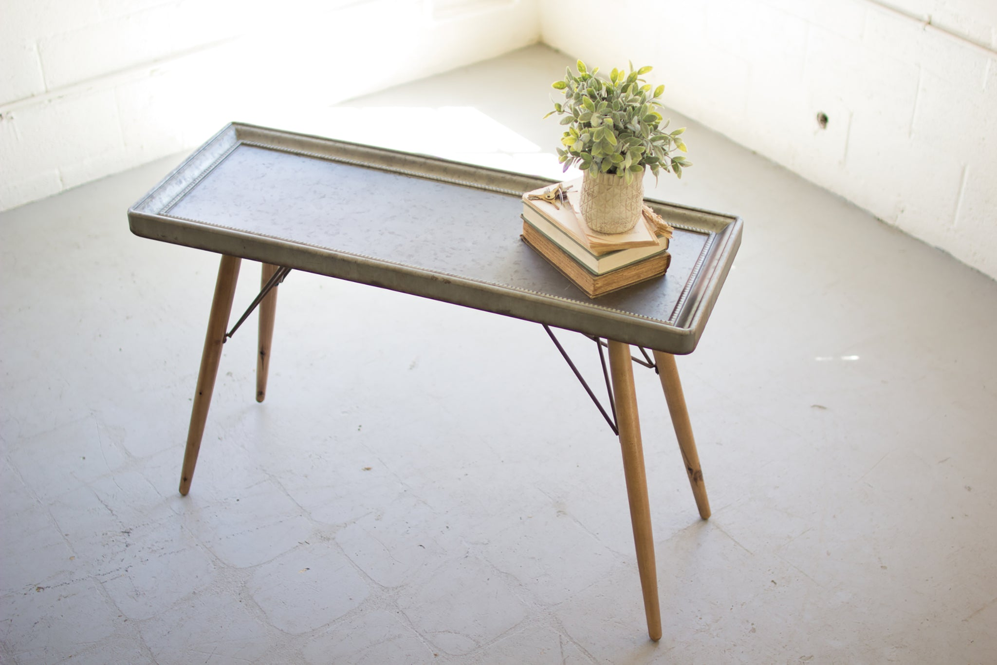 Mid Century Industrial Modern Metal Top and Wood Leg Sofa Table