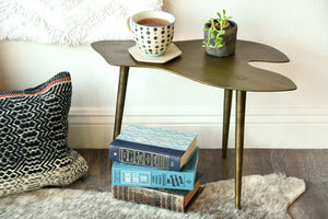 Small Low Mid Century Modern Brass Finish Metal Side Table