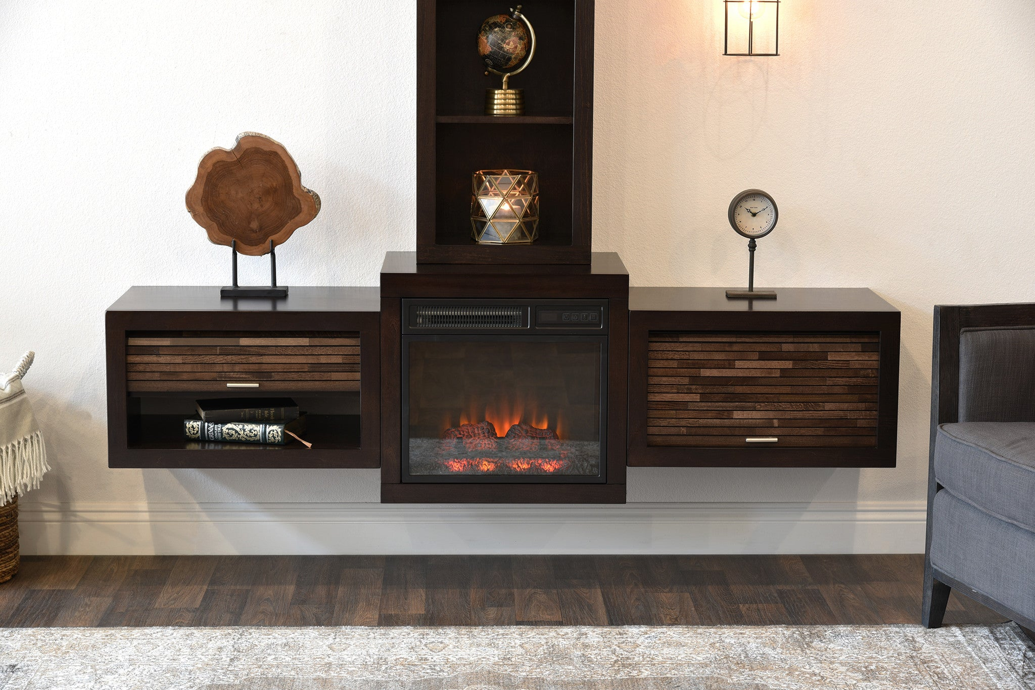 Floating Wall Mount Media Console With Fireplace and ...