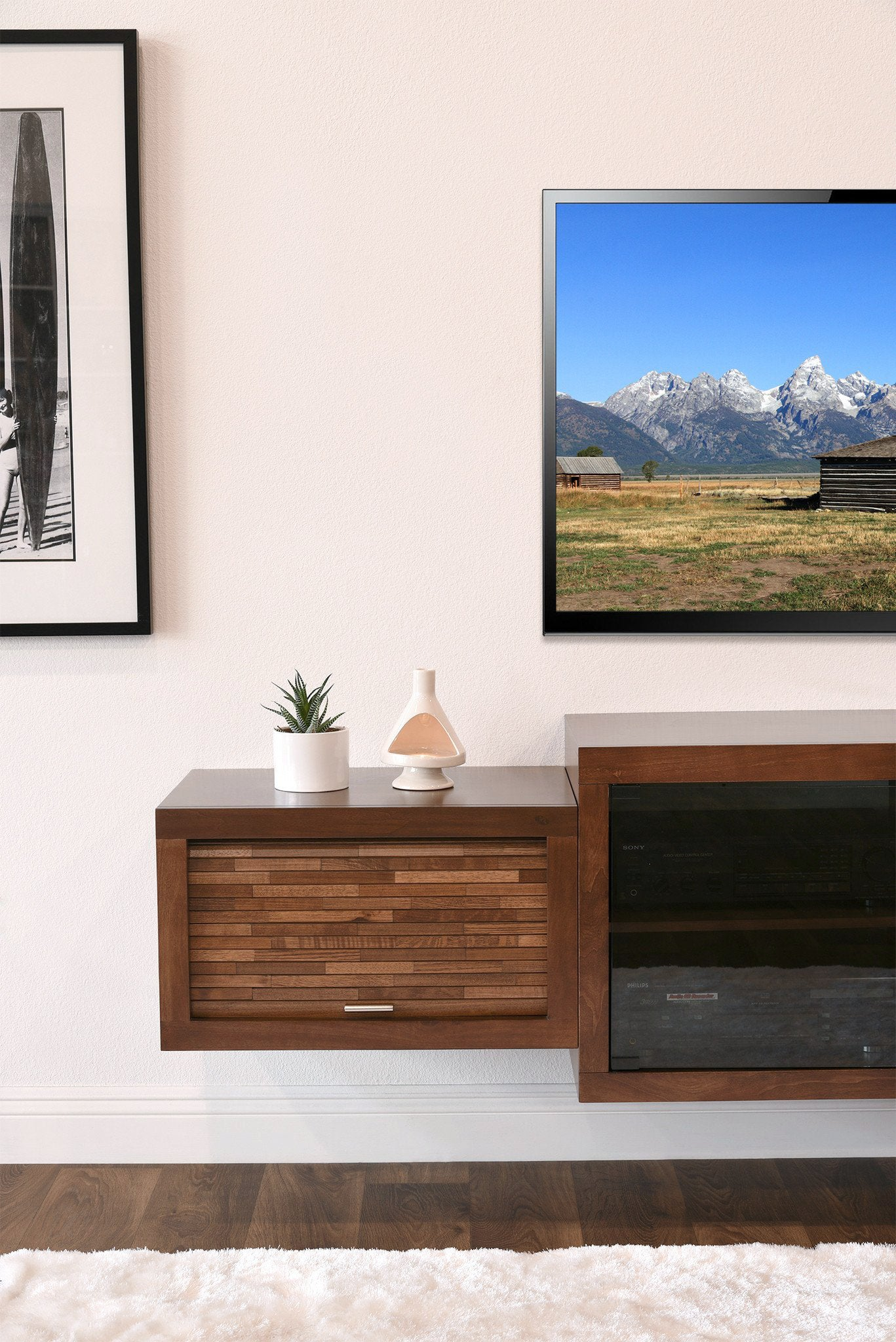 Floating Mid Century Modern Fireplace TV Stand Console   ECO GEO Mocha