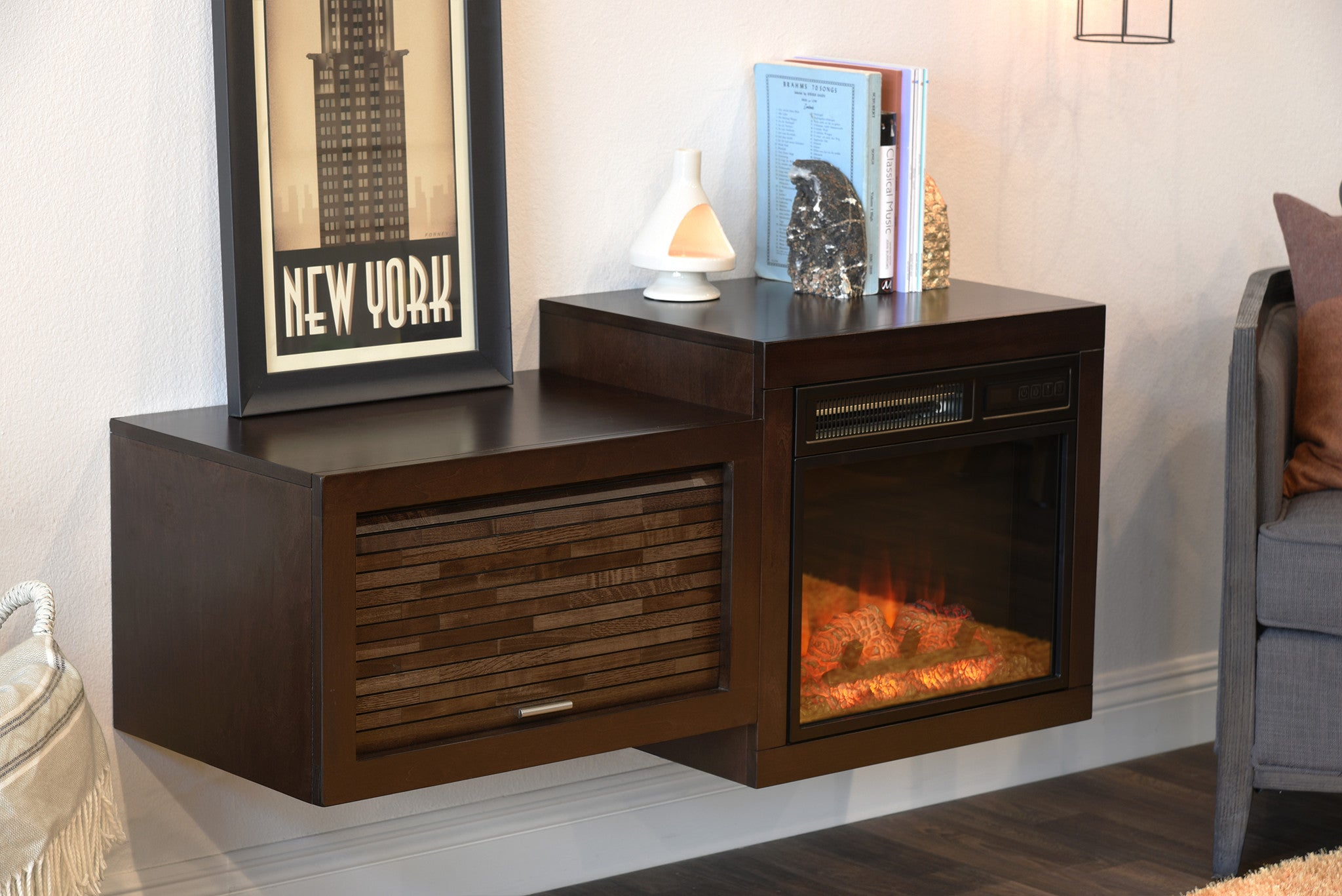 mid century modern retro floating media console with fireplace