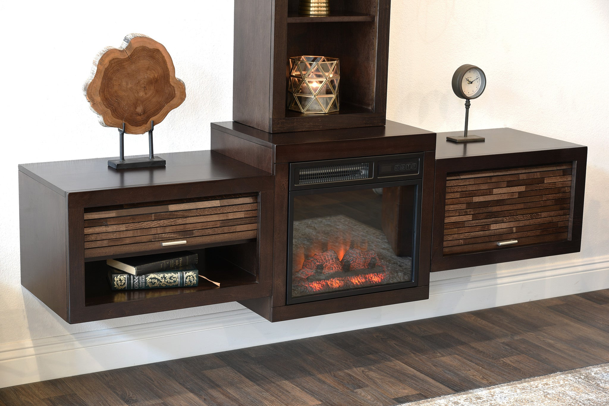 Save $$ With This Bundle! Floating Wall Mount Media Console With Fireplace and Bookcase  The Eco Geo is a unique eco-friendly modular entertainment console which is handcrafted of solid Poplar and genuine Maple veneers.   This bundle includes our electr