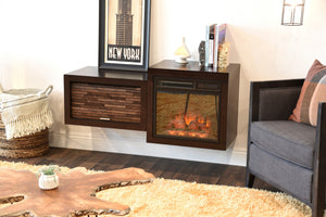 Mid Century Modern Retro Floating Media Console With Fireplace - ECO GEO Espresso