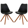 Mid Century Modern Black Retro Wood Leg Chairs - Set of 2