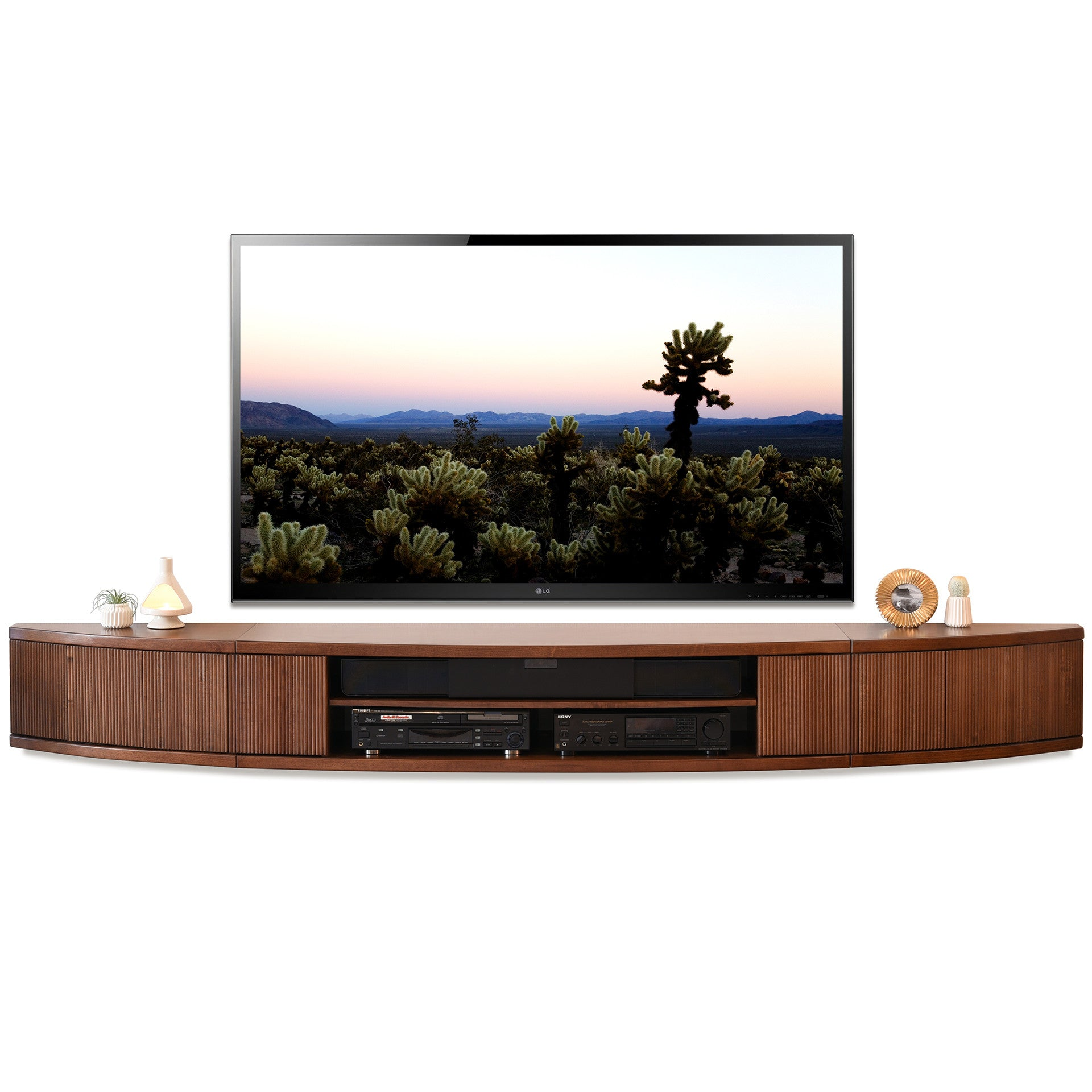 Image of: Wall Mounted Floating Tv Stands Tagged Mid Century Woodwaves