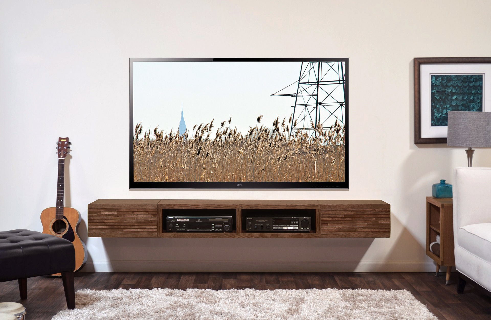 Floating TV Stand Mid Century Modern Wall Mount Entertainment Center    Mayan Mocha