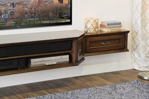 Coastal Transitional Floating Entertainment TV Media Stand - Vintage - 3 Piece - Dark