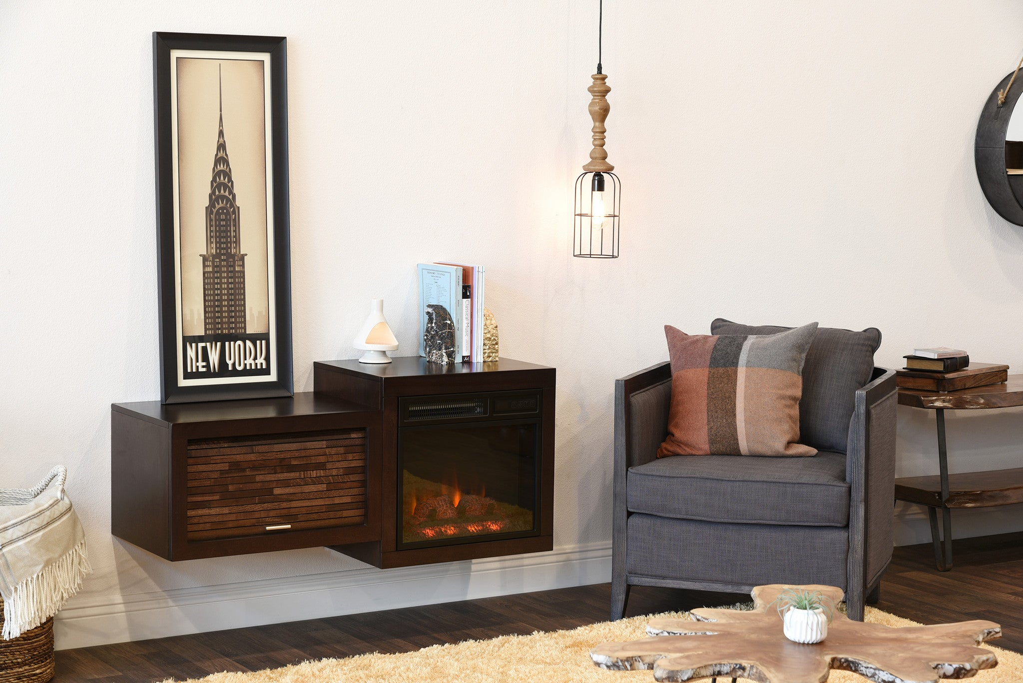 mid century modern retro floating media console with Electric Fireplaces Dimplex Electric Fireplaces