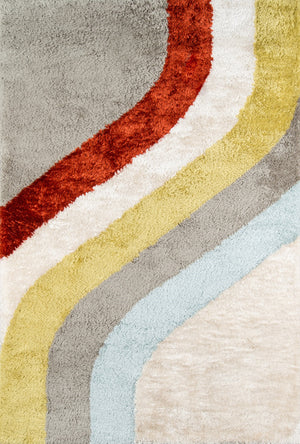 Mid Century Modern Orange Yellow Stripe 70s Style Rug - Novogratz Retro