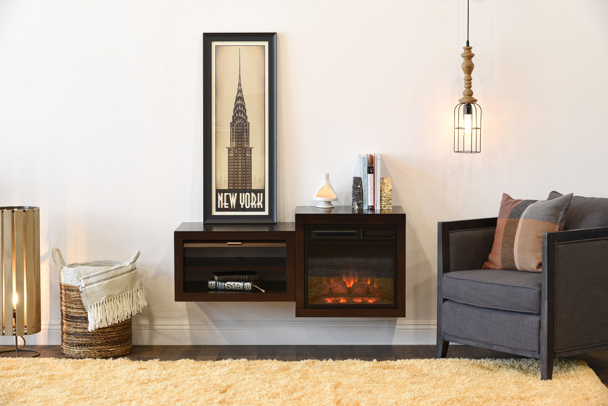 mid century modern retro floating media console with fireplace eco g woodwaves. Black Bedroom Furniture Sets. Home Design Ideas
