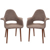 Mid Century Modern Retro Wood Leg Arm Chairs - Set of 2
