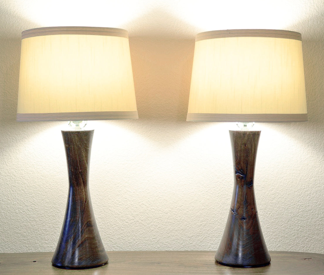 Hourglass Handcrafted Mid Modern California Table U Century Kona s aTurned Lamps Wood j534AqRL