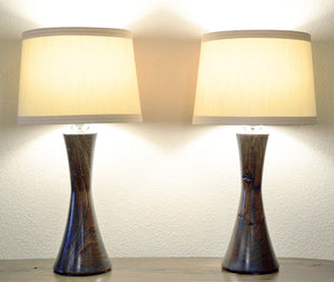 Mid Century Modern Hourglass Handcrafted California U.S.A. Turned Wood Table Lamps - Kona