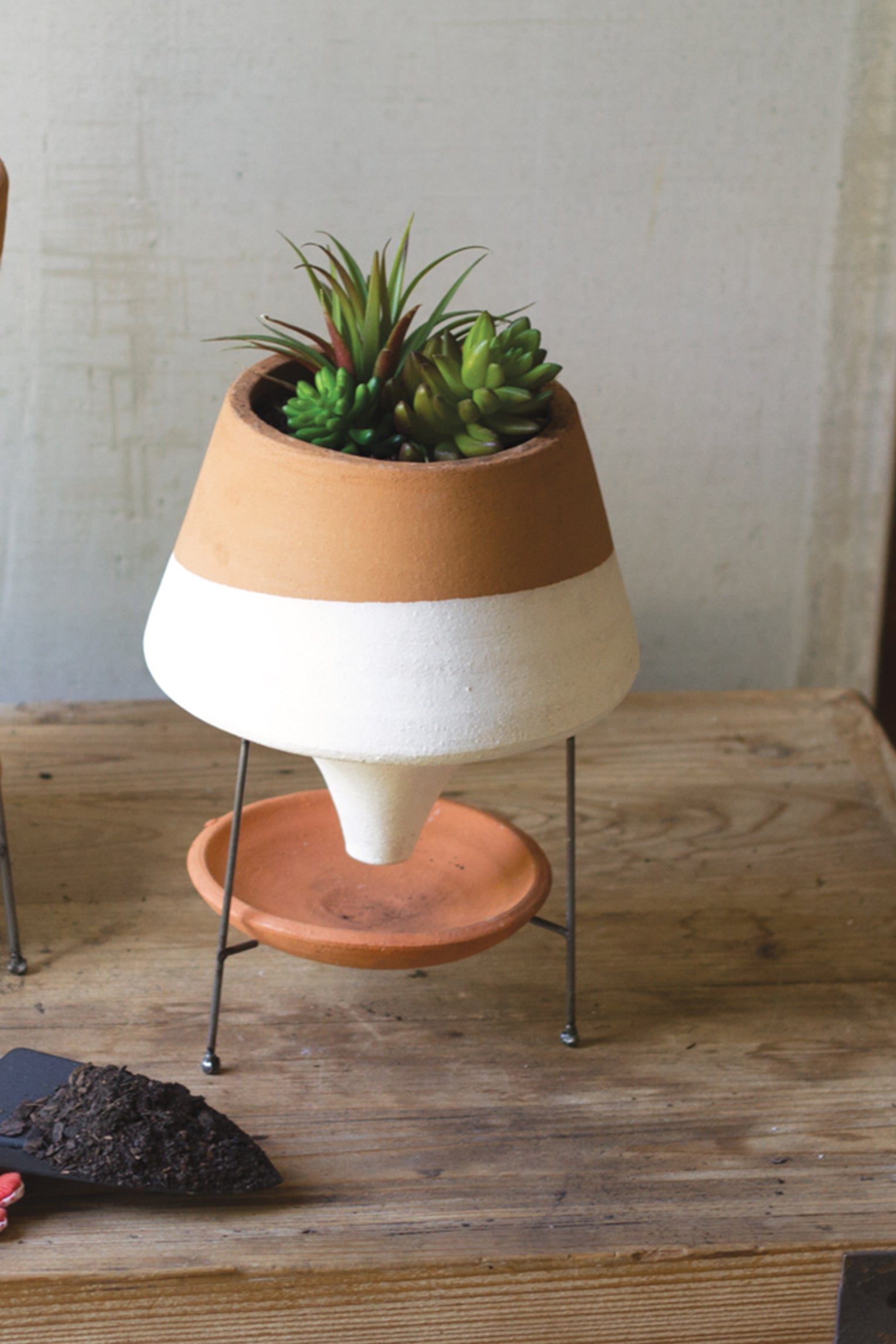 Mid Century Modern Terracotta Clay Planter With Stand