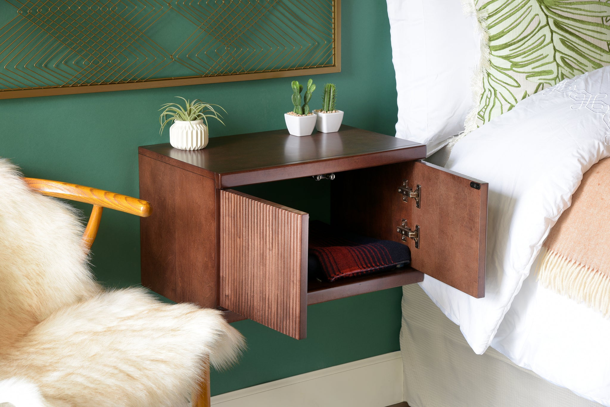 Mid Century Modern Wall Mounted Floating Nightstand Curve Mocha Woodwaves
