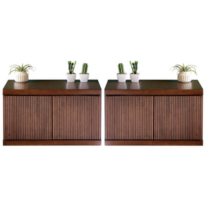 Mid Century Modern Wall Mounted Floating Nightstands - Curve - Mocha - Set of 2