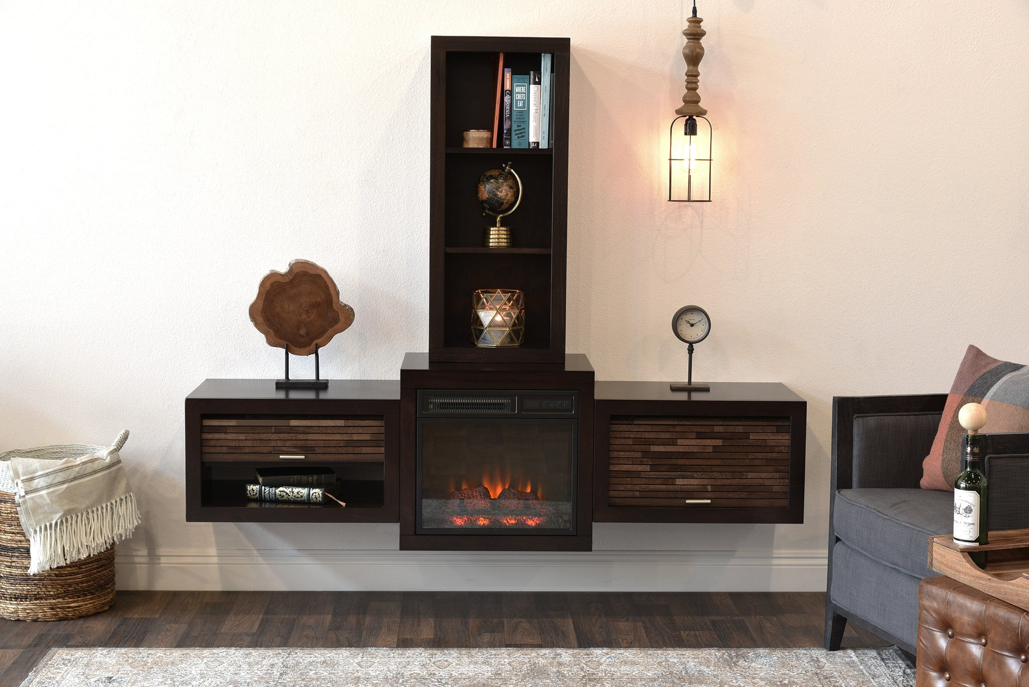 Floating Wall Mount Media Console With Fireplace and Bookcase