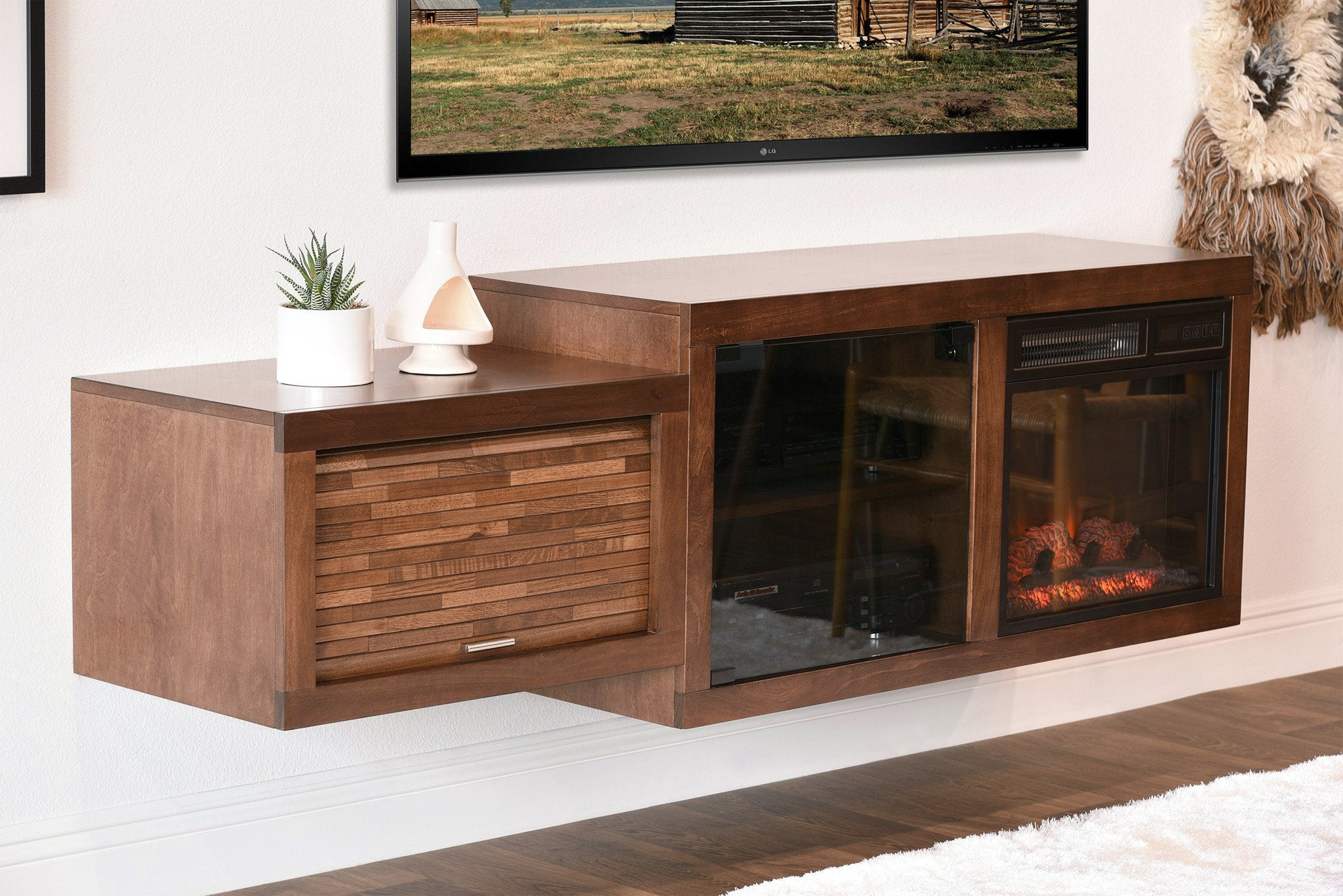 Danish Modern Fireplace Part - 48: Floating Mid Century Modern Fireplace TV Stand Console - ECO GEO Mocha