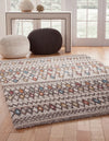 Mid Century Retro Modern Multi-Color Diamond Pattern Rug