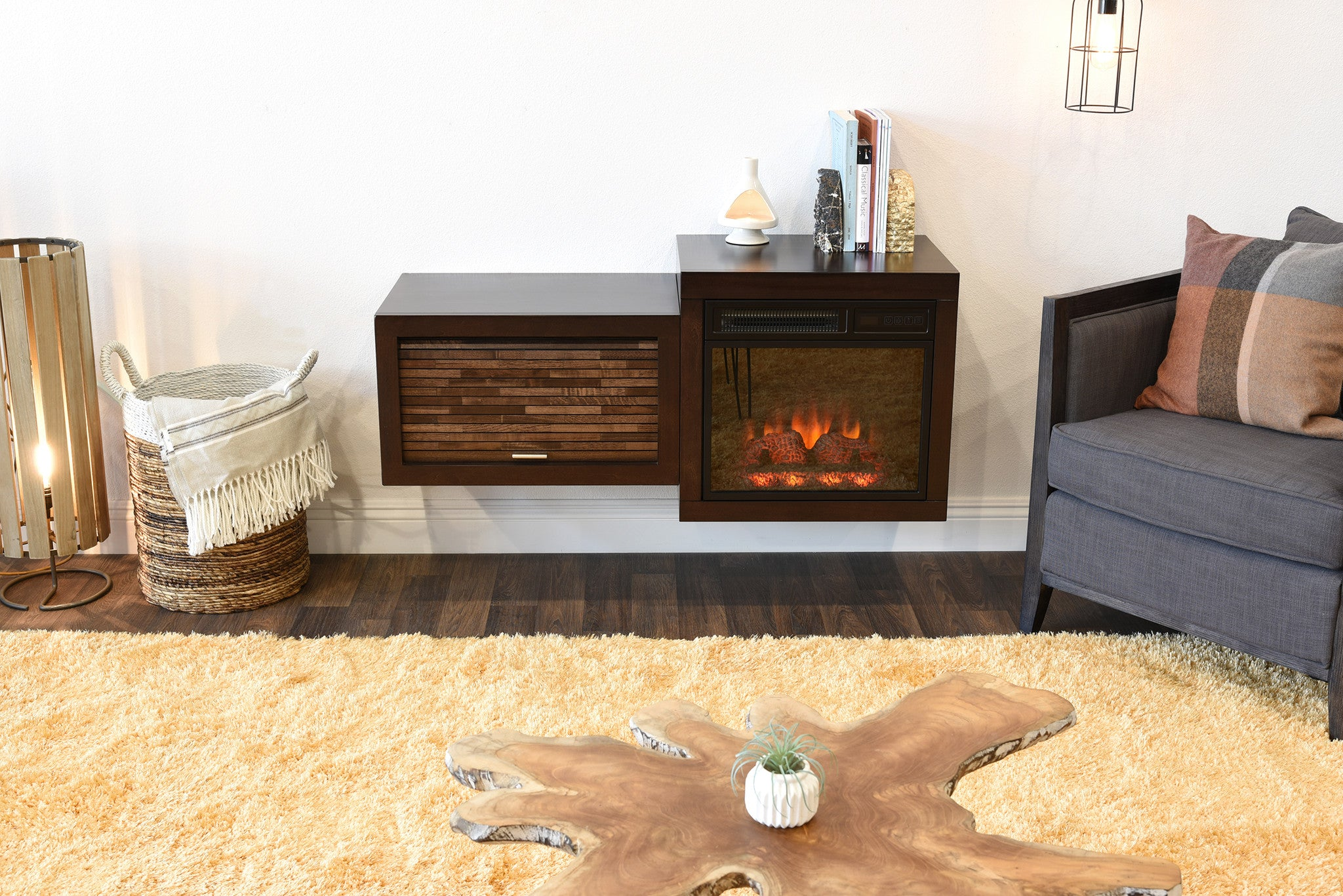 Mid Century Modern Retro Floating Media Console With Fireplace Eco G Woodwaves