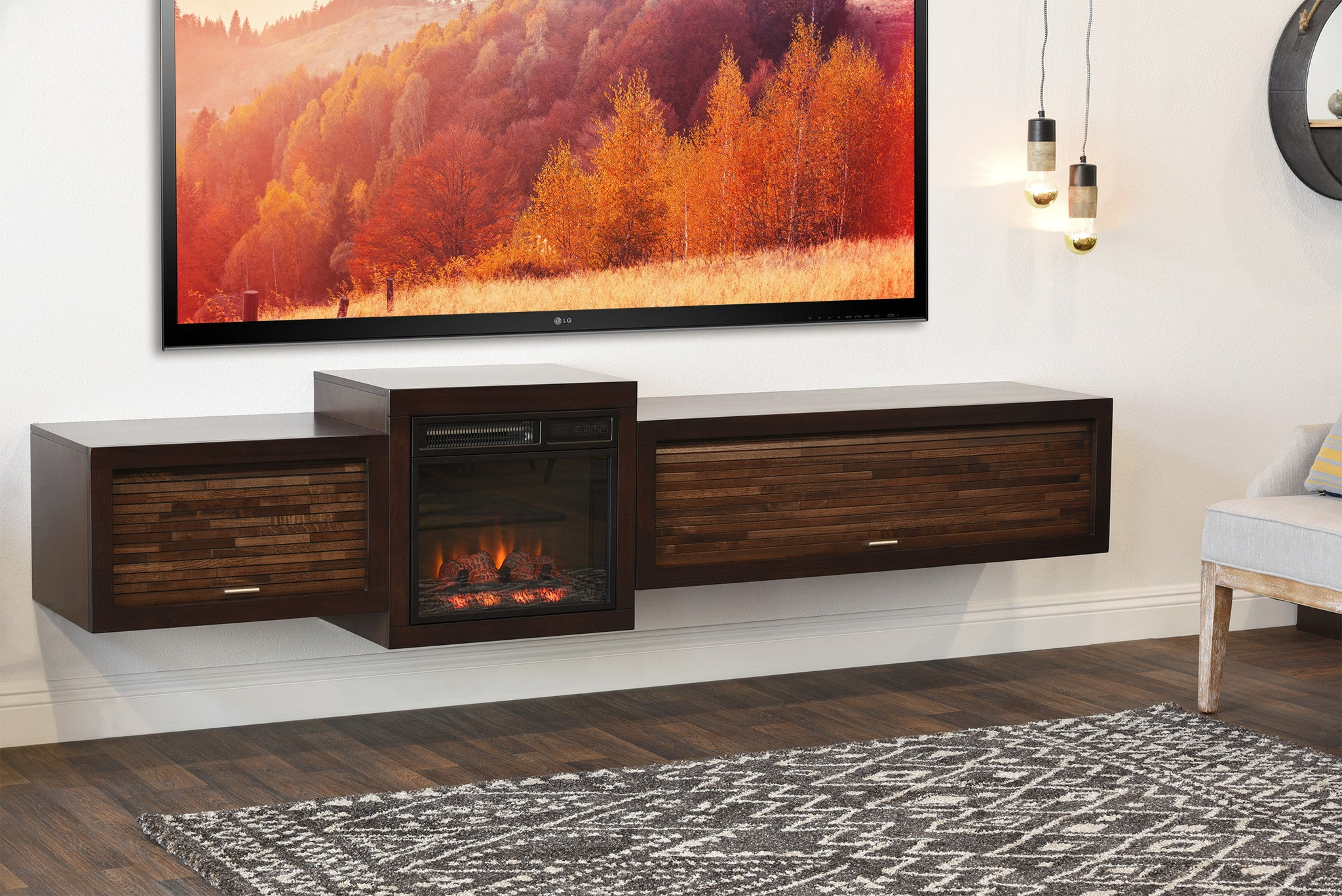 Save $$ With This Bundle! Floating TV Stand With Electric Fireplace   The Eco Geo is a unique eco-friendly modular entertainment console which is handcrafted of solid Poplar and genuine Maple veneers.   This bundle includes our electric fireplace and heating unit! The fireplace unit features a built in heater to crea