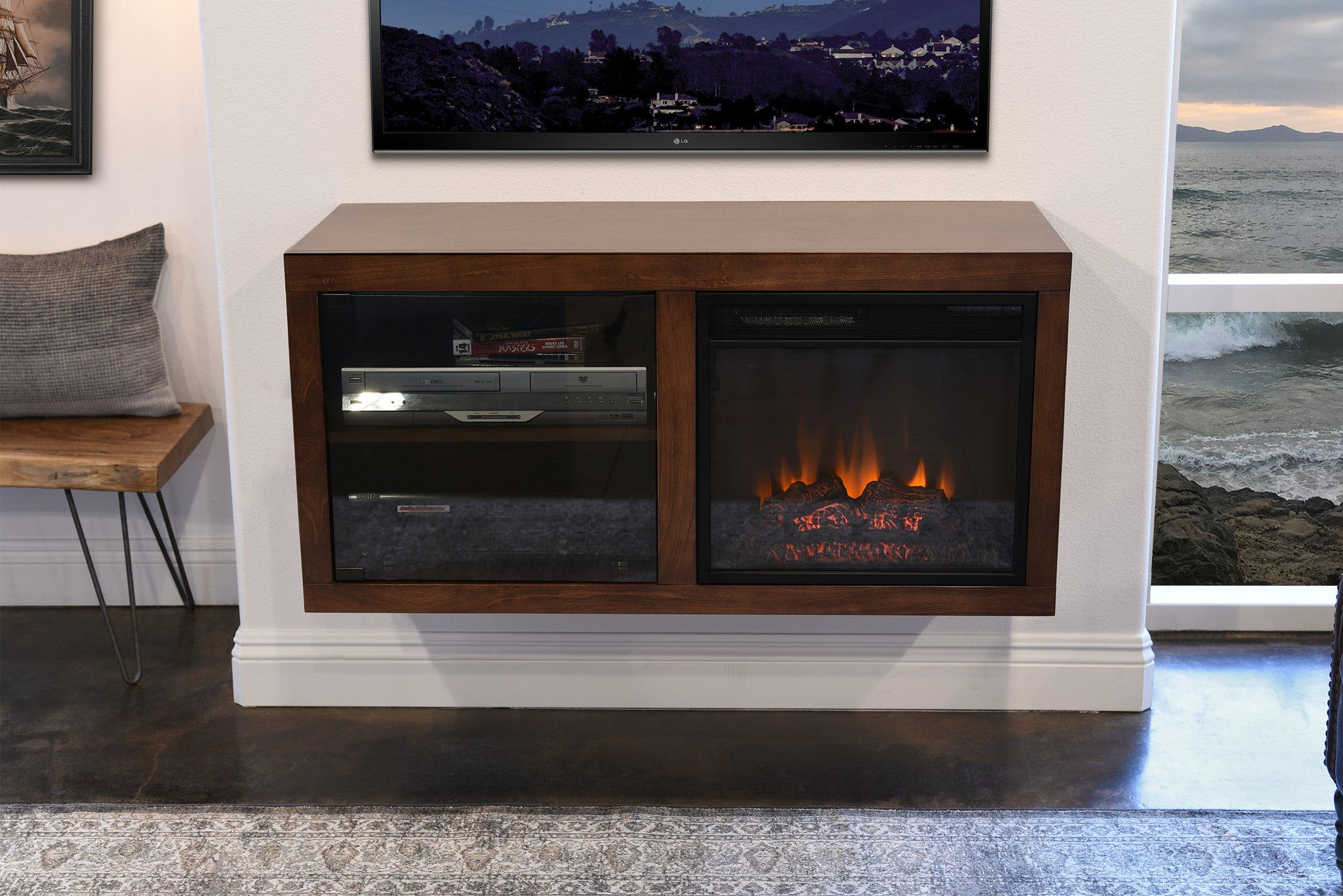 CLEARANCE! SAVE $100 OFF ORIGINAL PRICE OF $799!  HURRY! LIMITED STOCK! View Espresso Version Here Floating Electric Fireplace TV Stand The Eco Geo is a unique eco-friendly modular entertainment console which is handcrafted of solid Poplar and genuine Maple veneers.   This bundle includes our electric fireplace and h