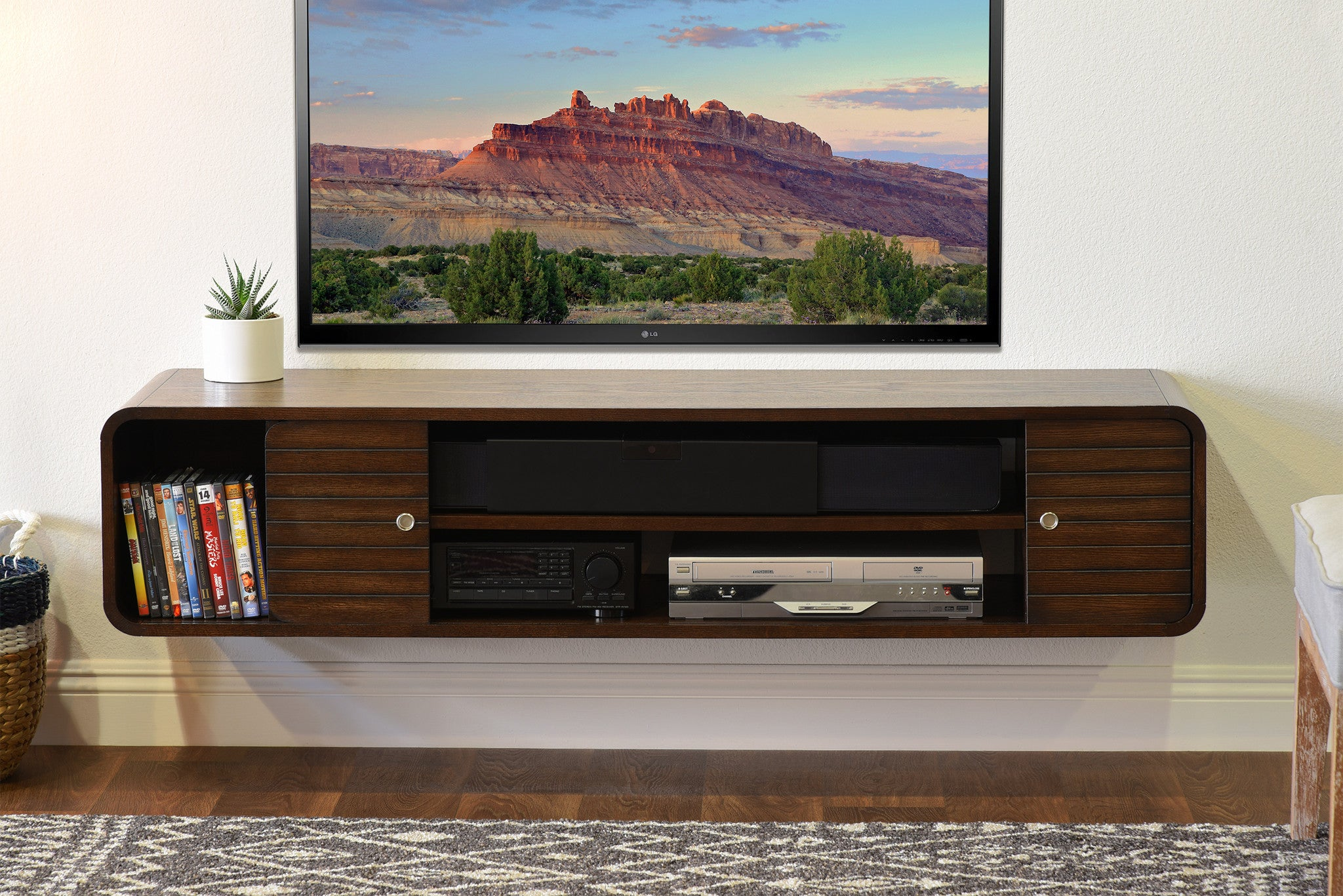 Floating Tv Console Lotus 2 Piece Driftwood Gray