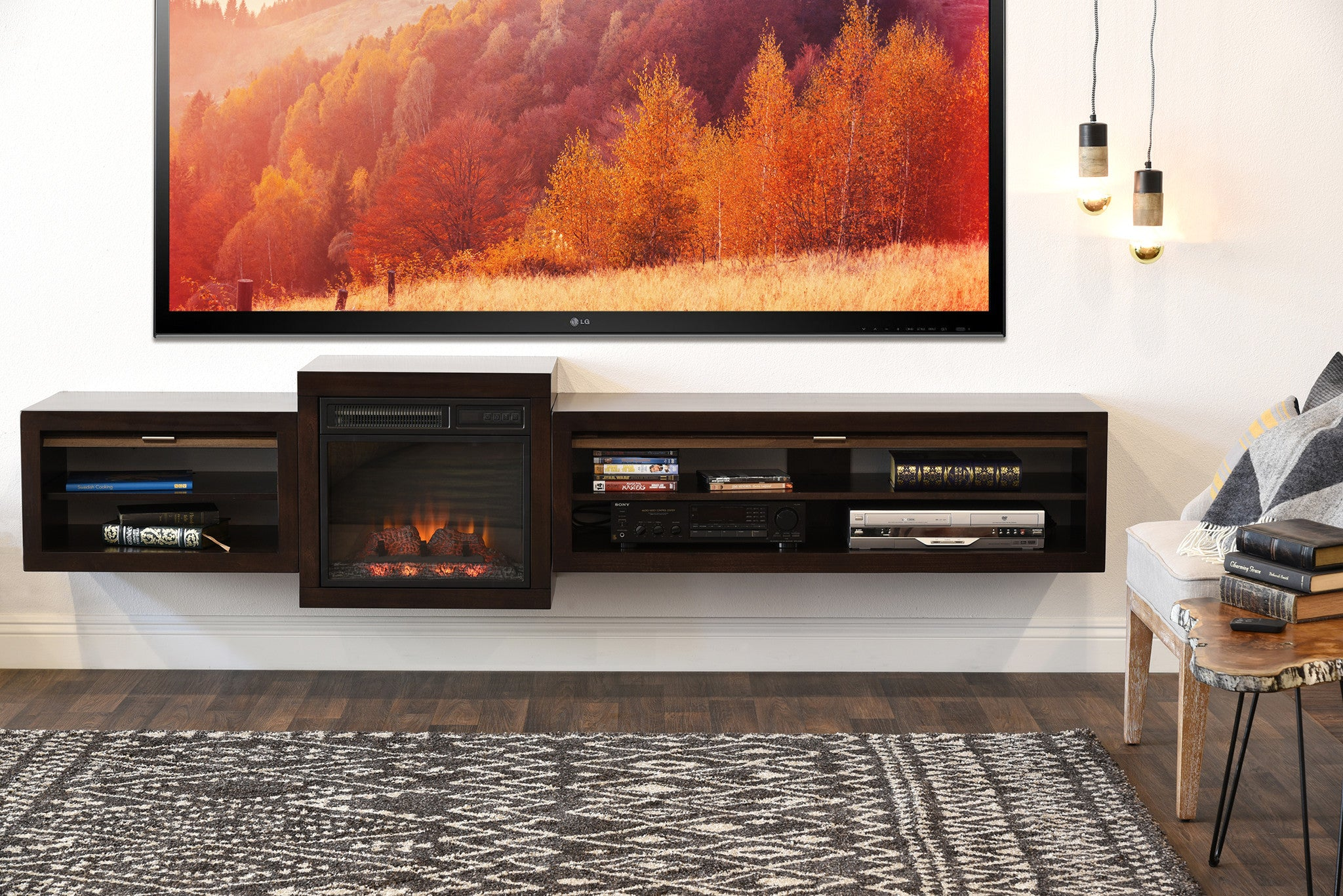 Save $$ With This Bundle! Floating TV Stand With Electric Fireplace   The Eco Geo is a unique eco-friendly modular entertainment console which is handcrafted of solid Poplar and genuine Maple veneers.   This bundle includes our electric fireplace and he
