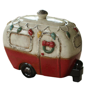 Mini Christmas Camper Ceramic Canister