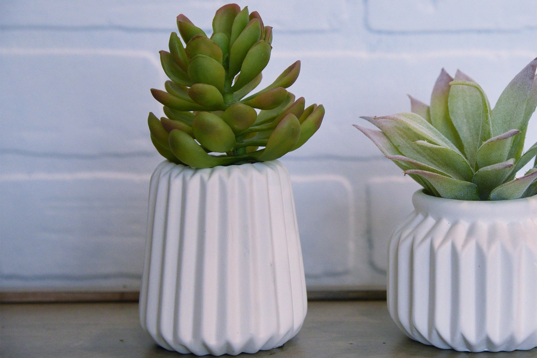 Mini Porcelain Succulent Flower Pots - Set of 2